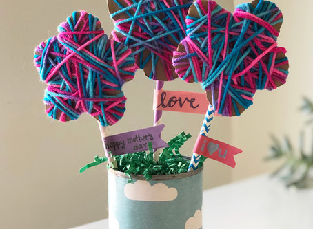 Yarn Wrapped Cardboard Flowers