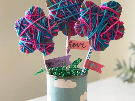 Yarn Wrapped Cardboard Flowers