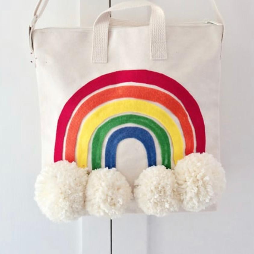 KEIKI Craft: Pom Pom Rainbow Tote Bag || $18