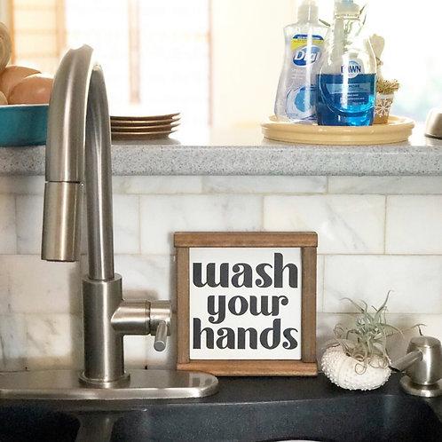 Framed Wash Your Hands wood sign