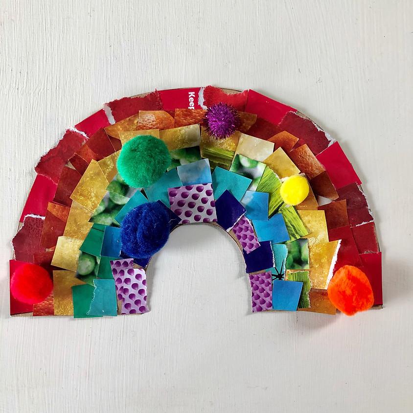 Upcycle Saturdays: Cardboard Mosaic Rainbow    $5