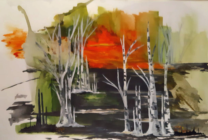 Sunset in the Birches