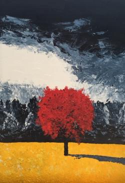 Lonely Crimson Tree