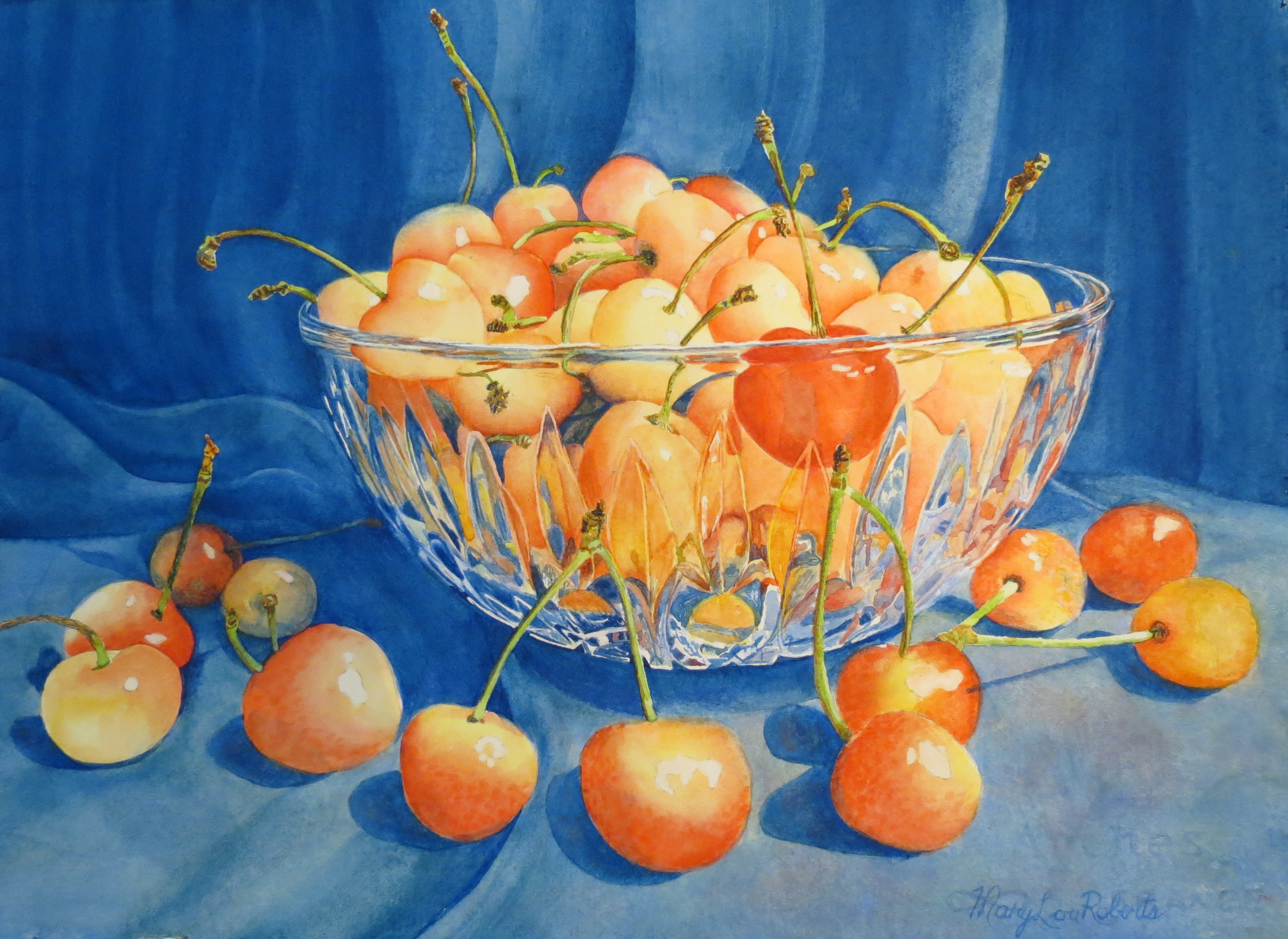 Mary Lou Roberts Bowl of Cherries 16 X 2