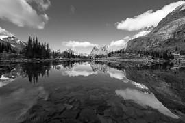 Hungabee Lake Reflection 1 B&W