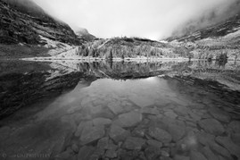 Hungabee Lake Reflection 2 B&W
