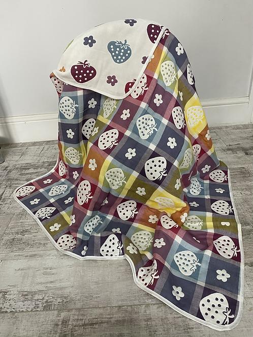 Strawberry Reversible Cot Blanket