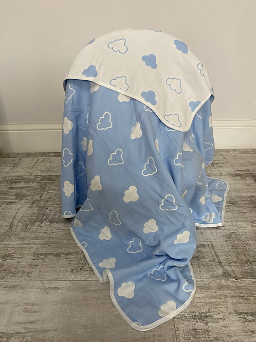 Blue Cloud Reversible Cot Blanket