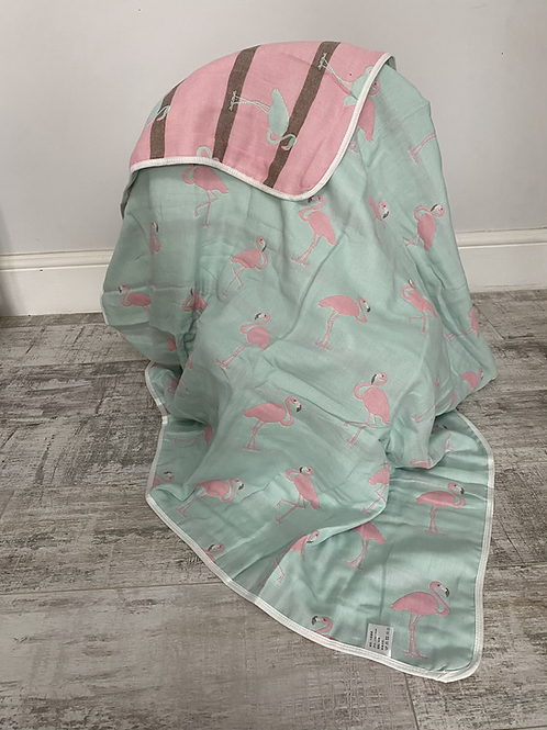 Flamingo Reversible Cot Blanket