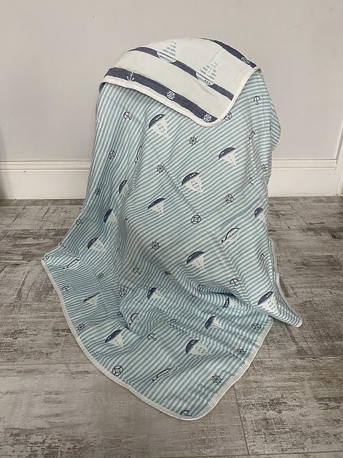 Nautical Reversible Cot Blanket