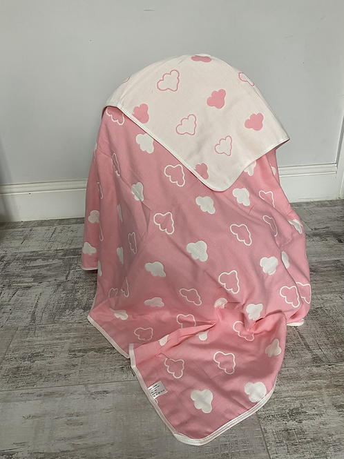Pink clouds Reversible Cot Blanket