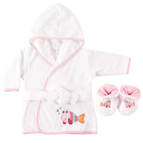 Personalized Baby Bath Robe & Slippers (Pink Fish)
