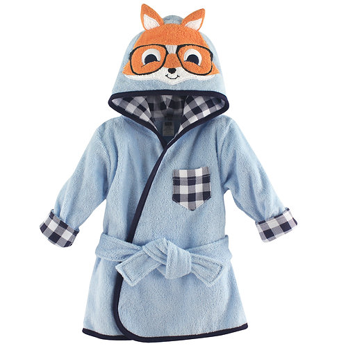 Personalized Animal Face Hooded Bath Robe (Nerdy Fox)