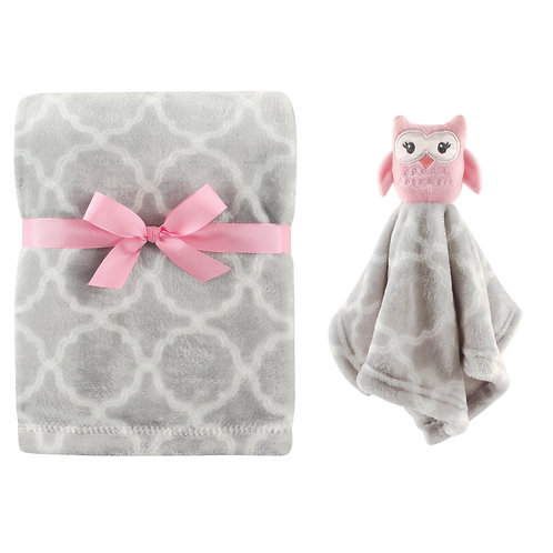 Personalized Blanket & Lovie Set (Pink Owl)