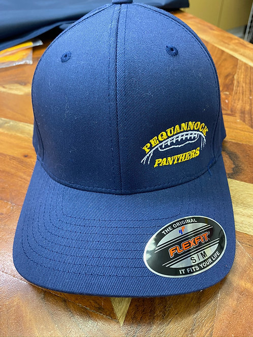 Navy Flexfit Adult Wool Blend Hat w/ Football Logo