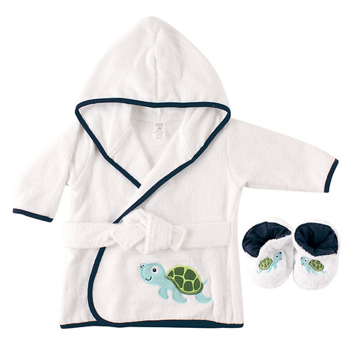 Personalized Baby Bath Robe & Slippers (Turtle)