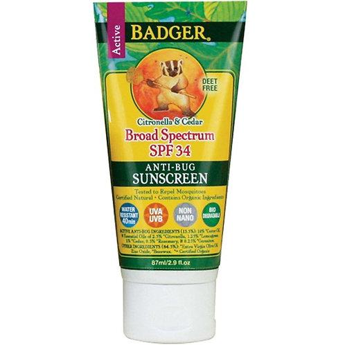 Badger SPF 34 Anti-Bug Sunscreen 二合一有機防曬防蚊蟲乳