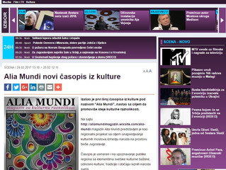"Novinska agencija Beta prenela vest o prvom broju magazina ""Alia Mundi"""