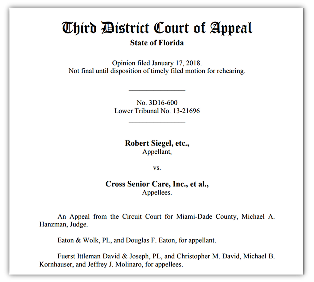 Blog Michael B Kornhauser Esq Records Of Judicial 17 Circuit Florida For Miamidade County Worse Than Speculation Fuerst Ittleman David Joseph Wins 3d Dca Nursing Home Appeal