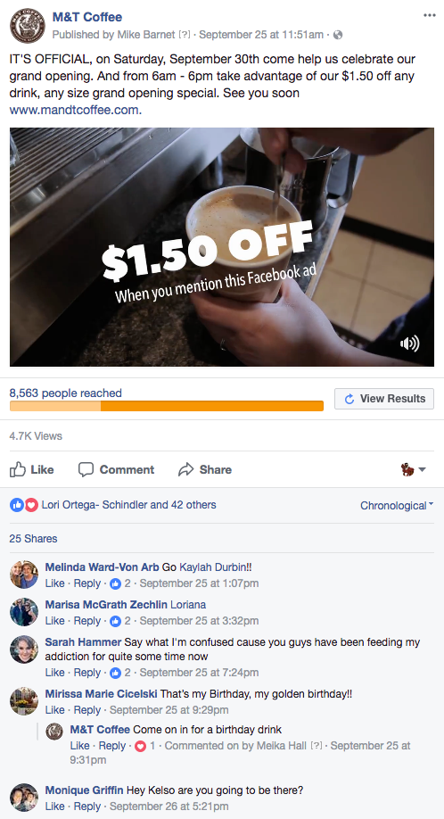 Example of M&T Coffee Facebook ad