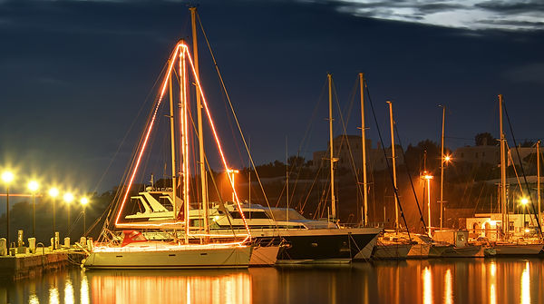 Sailing boat decorated and illuminated f