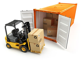 Forklift handling the cargo shipping con