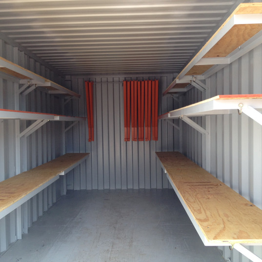 20' Storage container with interior shelving for organization on-site remodeling or job site