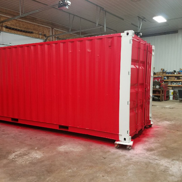 20' Painted Red & White Shipping Container