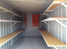 20' PROpod container with interior shelving options inside our shipping containers for rental or purchase