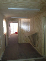 40' Sea Container buildout into mobile office container wth studs and carpentry work in Wisconin