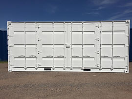 20' New open side container painted white modificatios