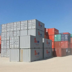 Stocor containers piled high, awaiting delivery to your home or business