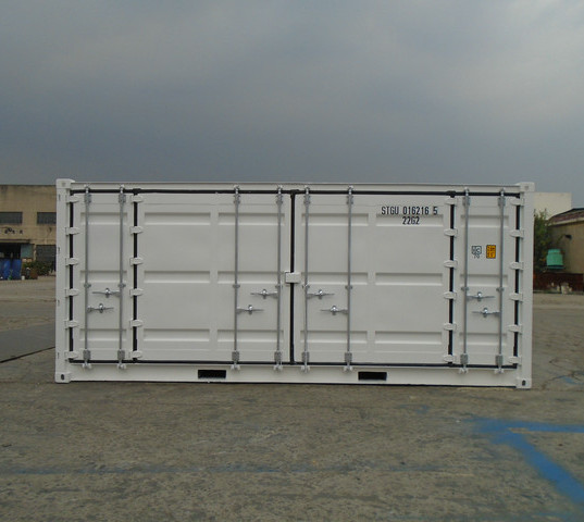 20' Open Side Container, tri-fold doors for full side opening options. Load and unload with a forklift with ease for storage.