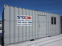 Our 20' office container is great for commercial jobsites for an employee to work remotely