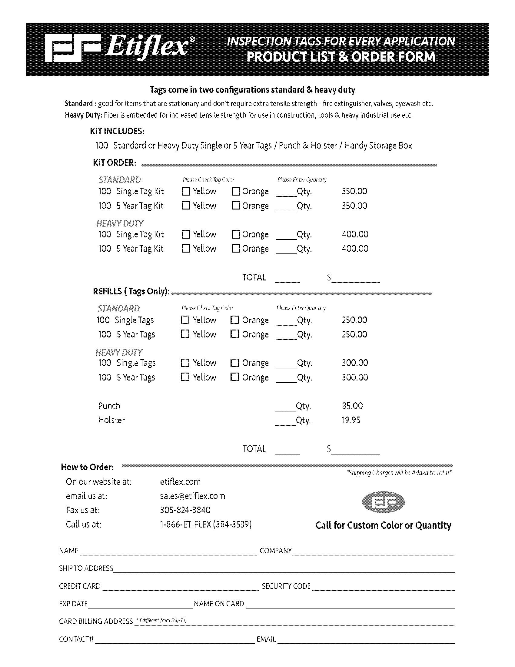 ETIFLEX insp kit order