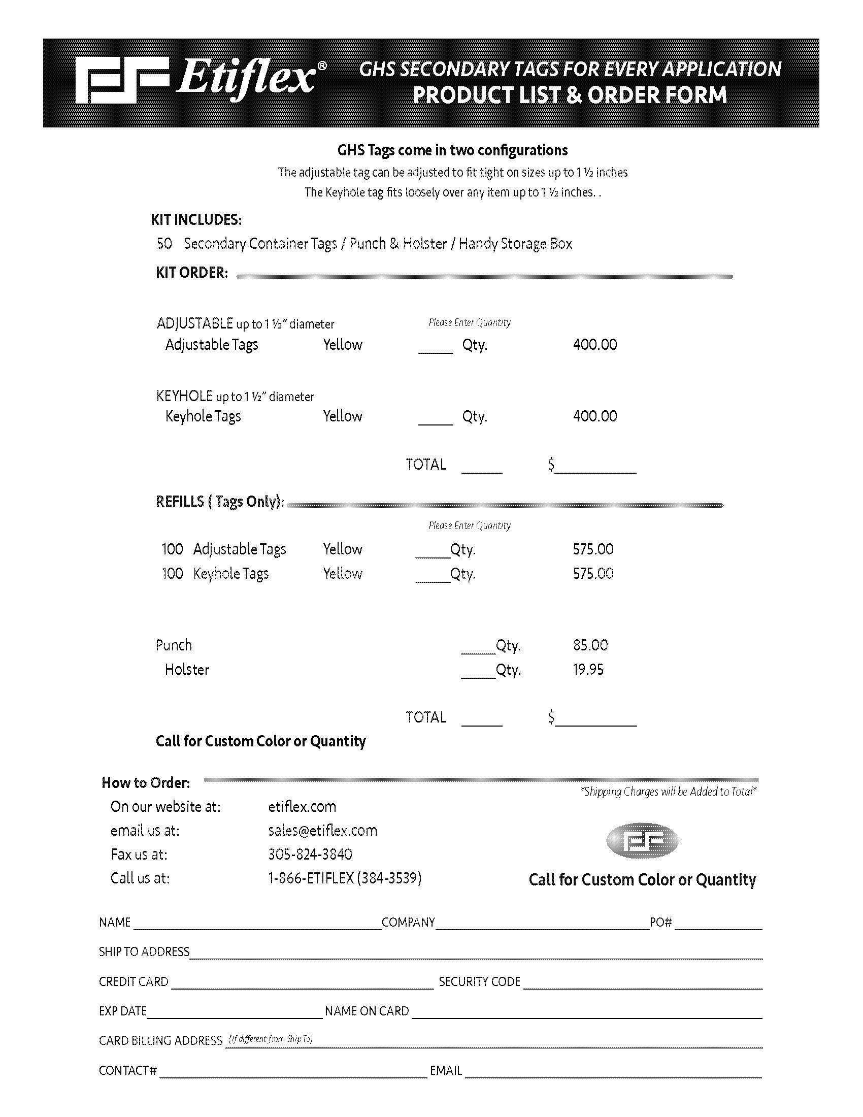 ETIFLEX GHS kit order