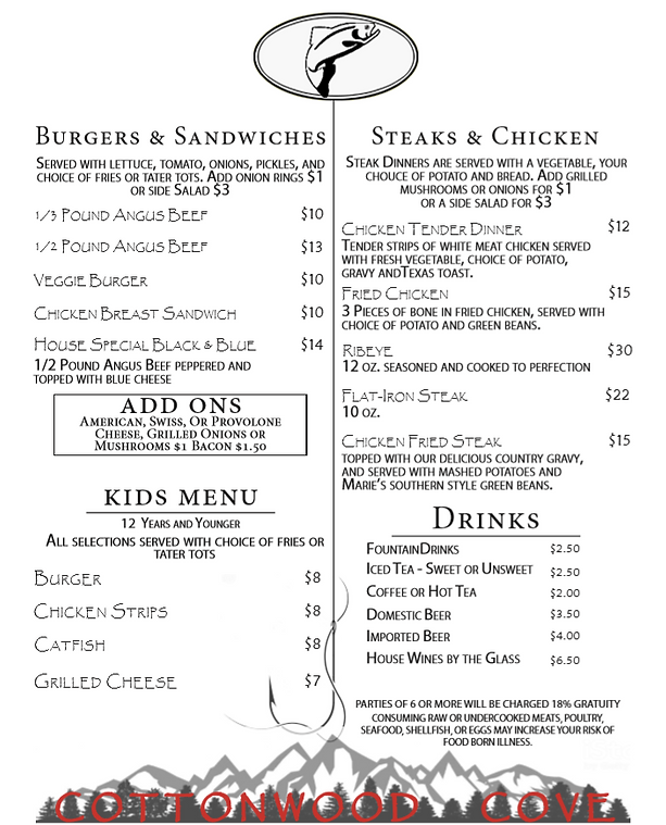 Cottonwood Cove Dinner Menu