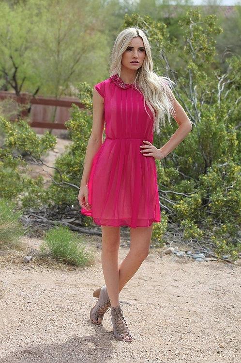 Studded Collar Pleated Dress