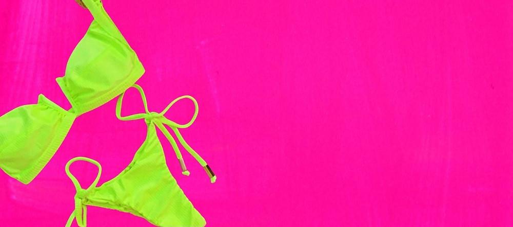 biquíni verde neon