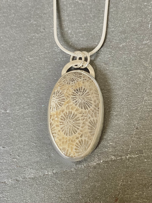 Sterling Silver and Fossilised Coral Pendant