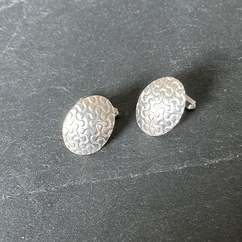 Sterling silver oval patterned cufflinks