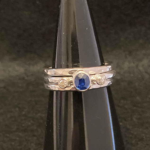 Sapphire and Diamond Stacking Ring Set