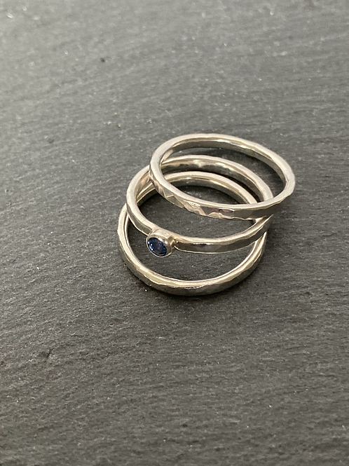 Sterling Silver Stone-set Stacking Rings