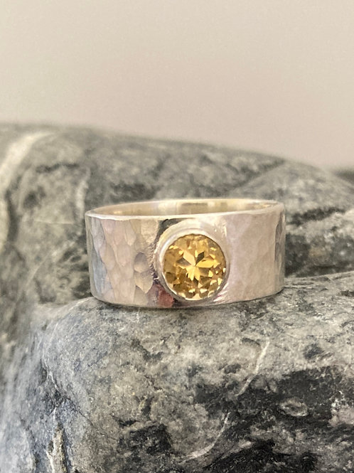 Citrine and Sterling Silver Hammered Ring