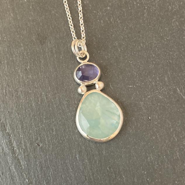 Aquamarine and Iolite Pendant