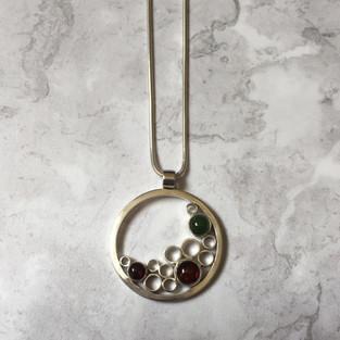 Amber, jade and garnet bubbles pendant