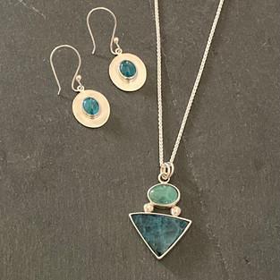 Apatite Earrings and Pendant set