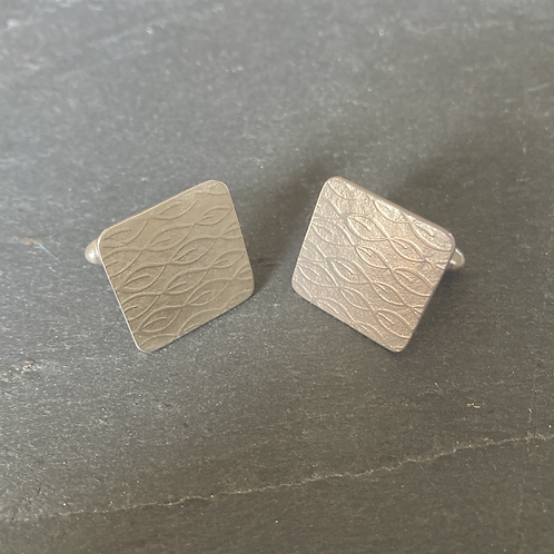 Sterling silver square patterned cufflinks