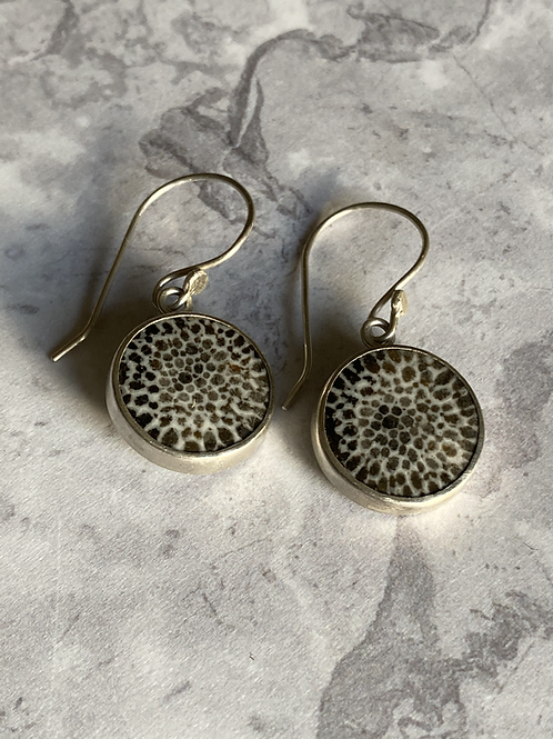 Fossilised Coral and Sterling Silver Earring Drops