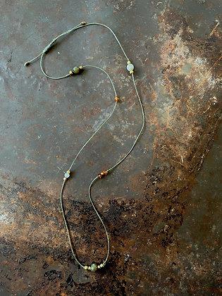 Halskette Makrameegarn grün